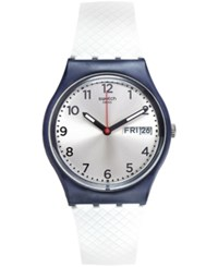 Swatch Unisex Swiss White Delight White Silicone Strap Watch 34Mm Gn720