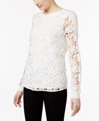 Inc International Concepts Long Sleeve Lace Contrast Top Only At Macy's Washed White