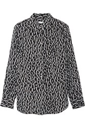 Equipment Slim Signature Printed Washed Silk Shirt Leopard Print