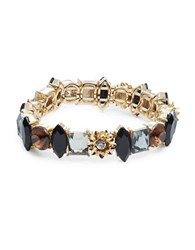 Design Lab Lord And Taylor Floral Accented Multi Shaped Stone Stretch Bracelet Black