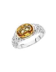 Lord And Taylor Sterling Silver And 14 Kt. Yellow Gold Citrine Ring