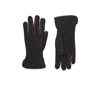 Barneys New York Leather Trimmed Gloves Gray