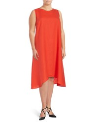 Lord And Taylor Plus Sleeveless Asymmetric Dress Red