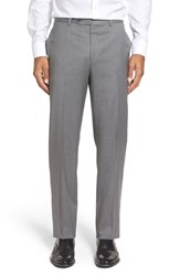 Riviera Men's Flat Front Solid Wool Trousers Silver