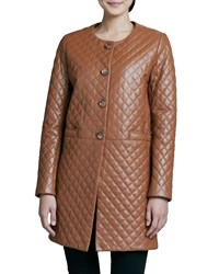 Neiman Marcus Quilted Long Leather Jacket Luggage