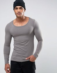 Asos Extreme Muscle Long Sleeve T Shirt With Scoop Neck Grey