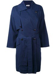 Sonia Rykiel By Double Breasted Coat Women Cotton Spandex Elastane Cupro Viscose 38 Blue