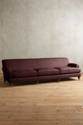 Anthropologie Linen Willoughby Grand Sofa Hickory Bordeaux