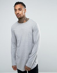 Asos Relaxed Longline Long Sleeve T Shirt With Curve Hem In Grey Grey Marl