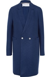 Harris Wharf London Double Breasted Wool Felt Coat Navy