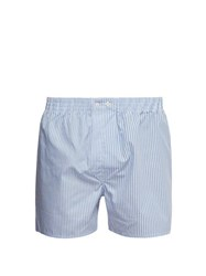 Derek Rose Candy Striped Cotton Poplin Boxer Shorts Blue Multi