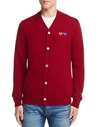 Comme Des Garcons Play Wool Double Heart Cardigan Sweater Burgundy