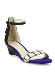 Cole Haan Adderly Snake Print Leather Ankle Strap Wedge Sandals Black Blue