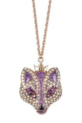 Betsey Johnson Fox Pendant Necklace Purple