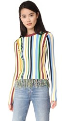 Milly Vertical Stripe Pullover Sweater Midtone