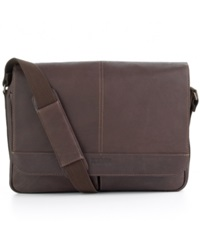 Kenneth Cole Reaction Colombian Leather Single Gusset Messenger Bag Tan