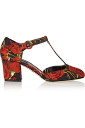 Dolce And Gabbana Floral Brocade T Bar Pumps