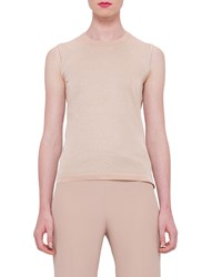 Akris Sleeveless Crewneck Knit Shell Rose Gold
