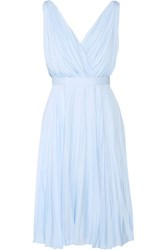 Prada Plisse Crepe De Chine Dress Sky Blue