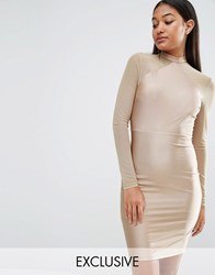 Naanaa Bodycon Dress With Mesh Sleeves Taupe Brown