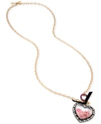 Betsey Johnson Two Tone Long Shaky Stone Heart Pendant Necklace Two Tone