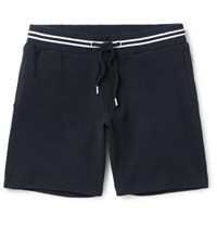 Orlebar Brown Dearne Contrast Trimmed Waffle Knit Cotton Drawstring Shorts Midnight Blue
