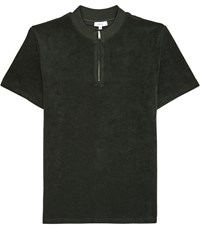 Reiss Dinnington Zip Neck Short Sleeved Top In Dark Green