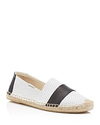 Soludos Perforated Leather Barca Stripe Original Espadrille Flats White Black
