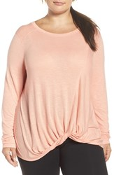 Zella Plus Size Women's 'Twisty Turn' Long Sleeve Tee Coral Sunlight