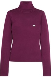 See By Chloe Appliqued Stretch Cotton Blend Turtleneck Sweater Plum