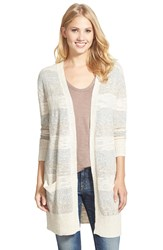 Caslon Marled Stripe Long Cardigan Regular And Petite Oatmeal Grey Marl Stripe