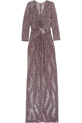 Jenny Packham Embellished Tulle Gown Brown