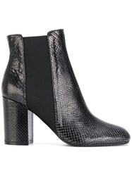 Pollini Snakeskin Effect Chelsea Boots Leather Rubber Black