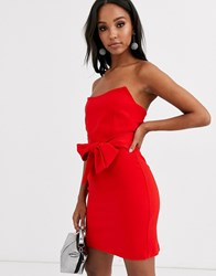 Vesper Structured Bandeau Mini Dress With Tie Waist In Red