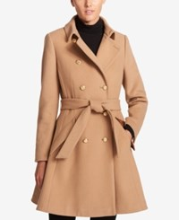 Dkny Double Breasted Fit And Flare Peacoat Camel