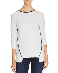 Love Scarlett Faux Leather Trim Sweater Winter White Black