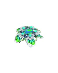 White Gold Peacock Opal Ring Lalique