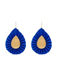 Katerina Makriyianni Pleated Teardrop Earrings Blue