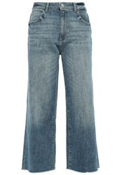 Dl1961 Woman Palmer Cropped Distressed High Rise Wide Leg Jeans Mid Denim