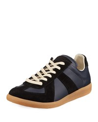 Maison Martin Margiela Replica Suede And Leather Low Top Sneakers Navy