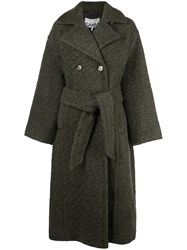 Ganni Double Breasted Belted Coat Green