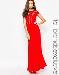 Jarlo Tall Bardot Shoulder Maxi Dress With Cut Out Detail Red