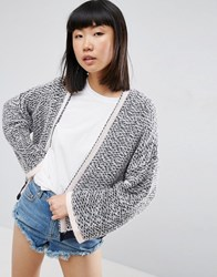 Asos Crop Cardigan In Textured Stitch And Wide Sleeves Navy