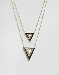 House Of Harlow Gold Tone Ivory Temple Pendant Necklace Gold