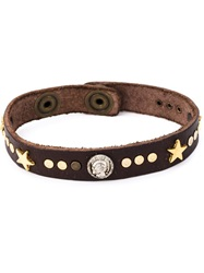 Diesel Studded Bracelet Brown