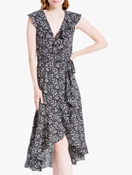 Max Studio Ditsy Floral Print Wrap Dress Black Ivory