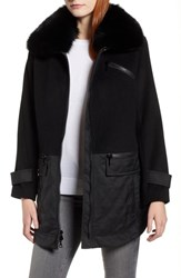 Trina Turk Genuine Fox Fur Trim Mixed Media Coat Black
