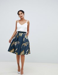 Closet London Metallic Floral Skater Skirt Multi