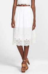 Lucca Couture Eyelet Midi Skirt White