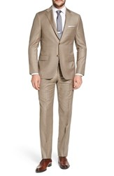 Hickey Freeman Classic B Fit Solid Wool Suit Medium Beige